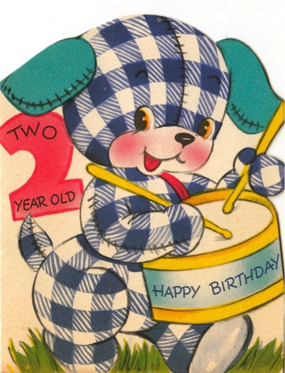 Vintage Greeting Card Cute Plaid Gingham Puppy Dog Age 2 Two Year Old Drums L115