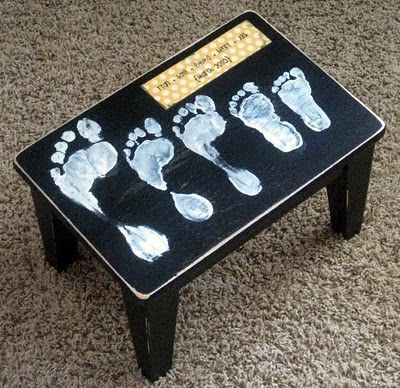 A step stool with family footprints :) Cute idea!!