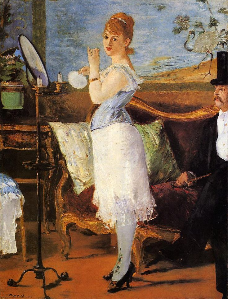 "1877. Edouard Manet, ""Nana""   She wears a chemise, pantalettes, petticoat, cuirass corset, stockings with clocking, and pumps.  Kunsthalle, Hamburg"