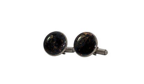 Coppia di Gemelli Nero e Bronzo in resina epossidica e acciaio inox made in Italy