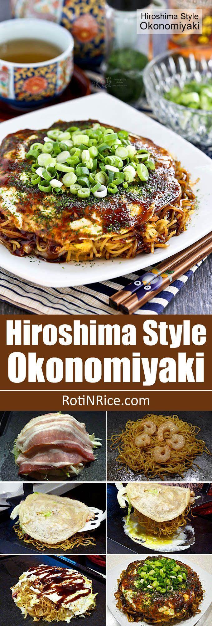 Hiroshima Style Okonomiyaki (Japanese Layered Pancakes) - the ultimate savory pancake complete with cabbage, bacon, noodles, shrimp, and egg. So yummy!   RotiNRice.com