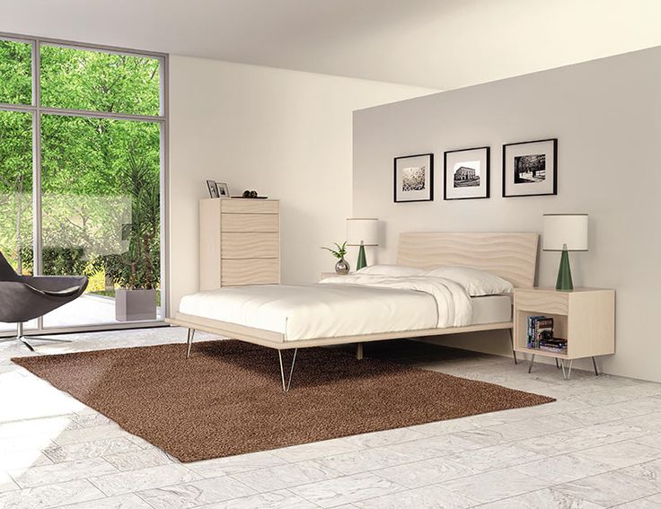 Copeland Wave Platform Bed | Natural Maple Wood | Metal Legs | USA Made  Furniture. Contemporary ...