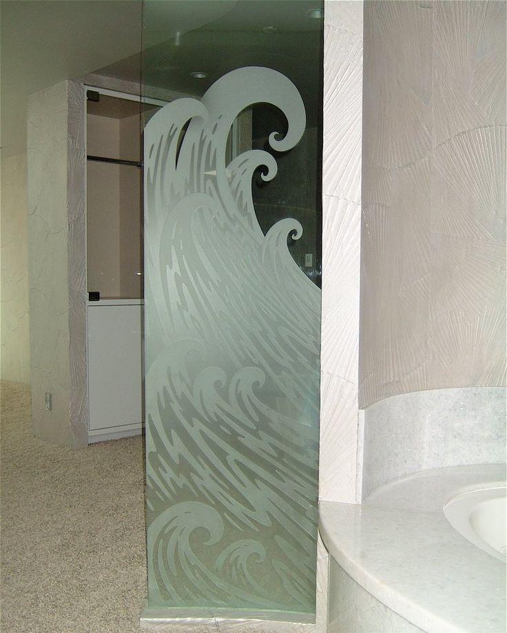 decorative glass bath partition etched and carved in ocean wave design sans soucie art glass. Black Bedroom Furniture Sets. Home Design Ideas