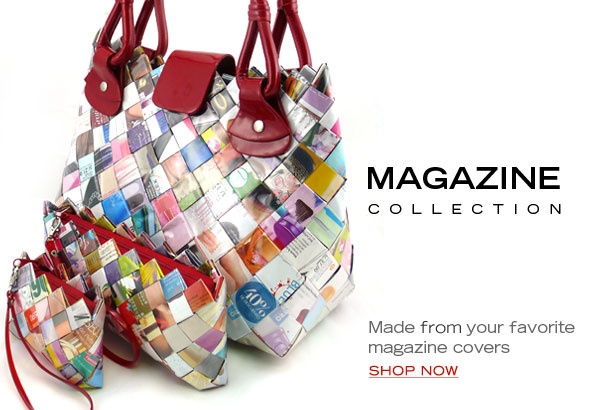 """Ecoist handmade handbags are made from recycled candy wrappers, food packages, soda labels, and other recycled materials. We collect waste and """"upcycle"""" it into eco friendly bags, recycled purses, and one-of-kind, limited collection handbags. Learn how we do it"""