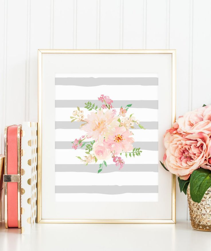 Printable Wall Art |  Gray Stripe Watercolor Flowers Floral Bouquet Painting Pink Coral Spring Print Printable Wall Art Home Decor Watercolor Nursery Flowers Art #printable #wallartprints #wallart #wallartdecor #motivationalquotes #girlboss #floraldecor #roomideas #diyroomdecor #ad #nurserydecoration