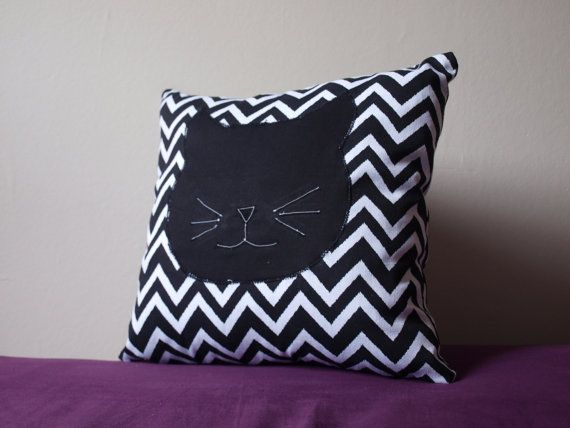 Black and White Cat Cushion by BadgerBlossom on Etsy, $35.00 https://www.etsy.com/nz/listing/178903215/black-and-white-cat-cushion
