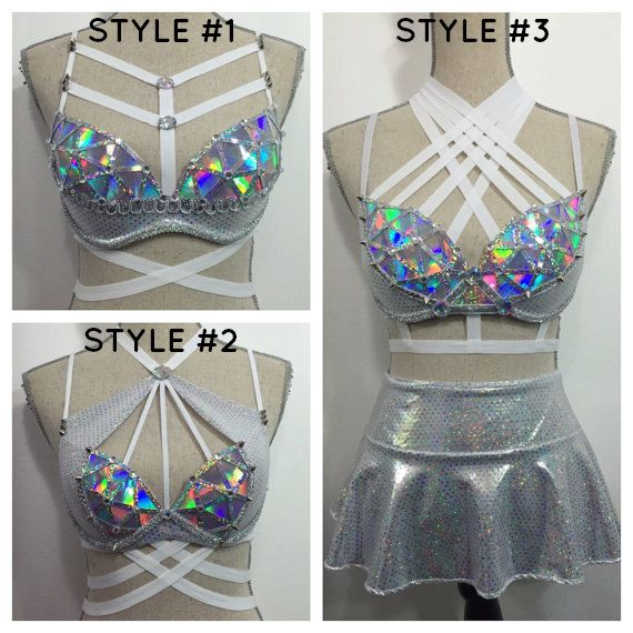 Light alien rave bra costume space cadet robot by bassbunnydesigns