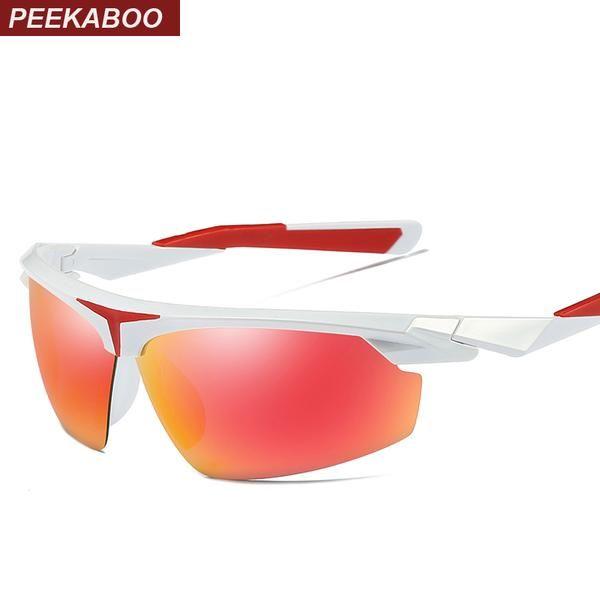 #DealOfTheDay #FASHION #NEW Peekaboo black half frame sunglasses men polarized driving sun glasses for men polarized red green mirror uv400…