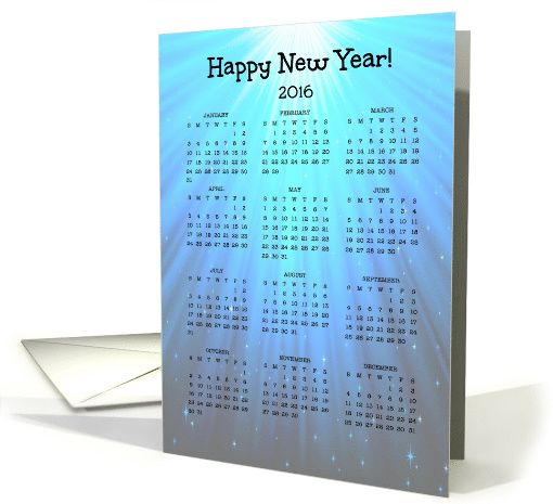 Happy New Year - 2016 - Year Calendar - Blue - Bright card