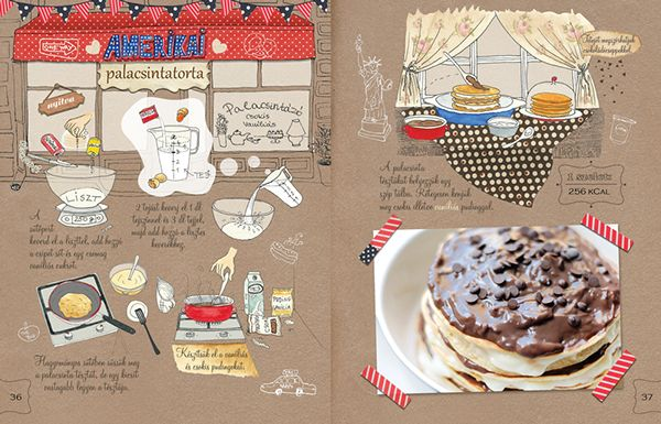 Dalocska's bakery – Illustrated recipe book on Behance American Pancake #recipe #illustrated #illustration