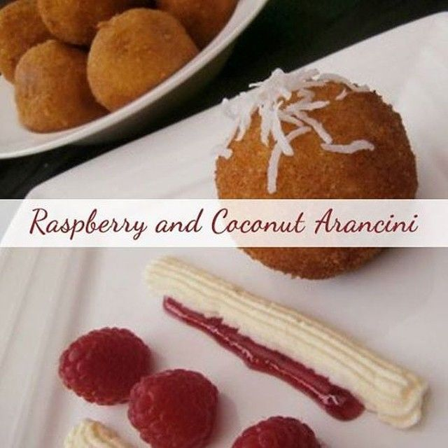 Arancini don't always have to be savoury - why not fill them with raspberry and coconut instead!