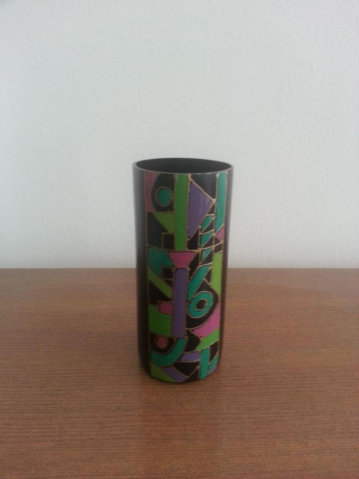 Cylinder glass black multi colour  vase