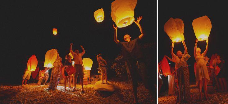 Traditional scottish wedding in Greece, light laderns in sky, wedding in Paxos island