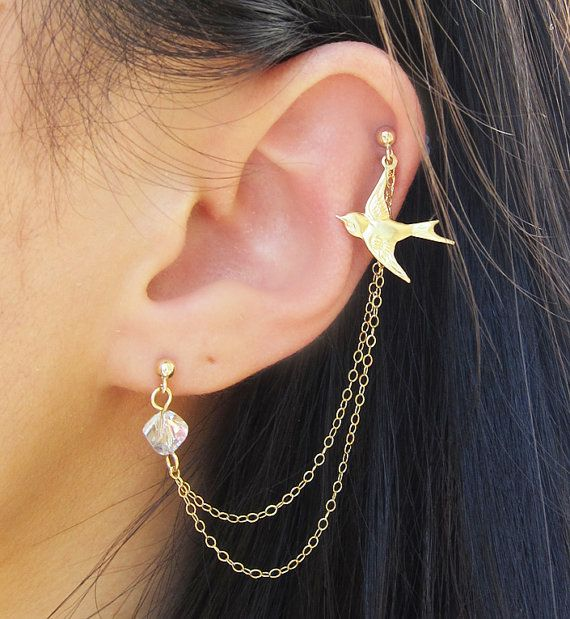 Gold Filled Dove Swarovski Crystal Double by SimplicityCharms