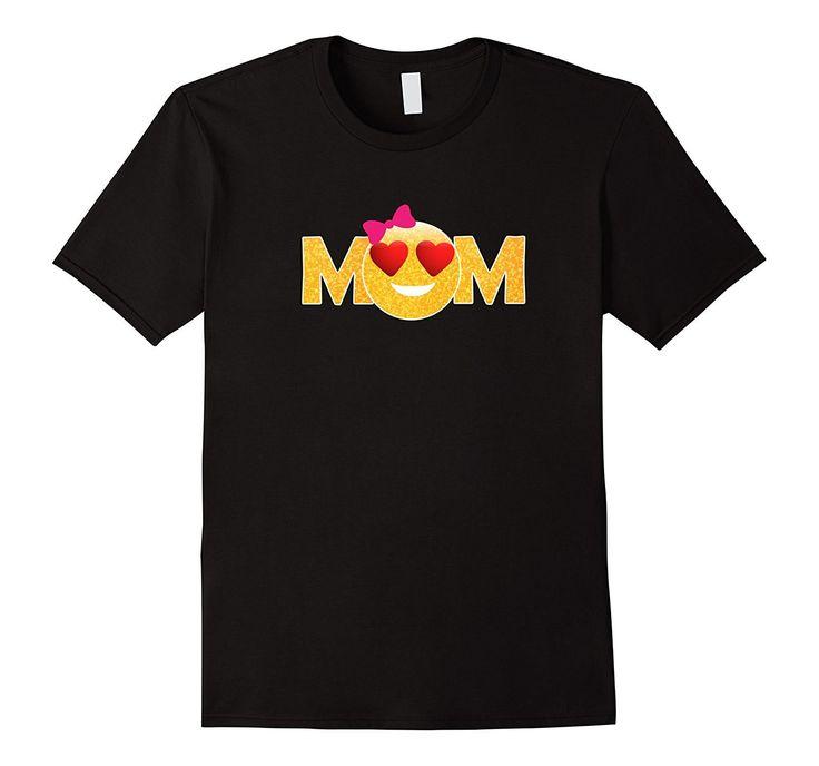 Gold Glitter Emoji Heart Eyes Mom Mother's Day T-shirt Women