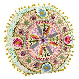 """Multicolor cushion with a tribal floral motif and pompom trim. Product: Cushion Construction Material: Viscose cover Color: Multi Features: Insert included Dimensions: 16"""" Diameter x 5"""" D Cleaning and Care: Spot clean only"""