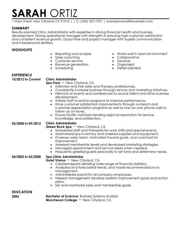 resume examples healthcare management