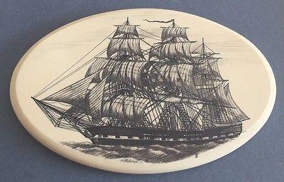 Scrimshaw Vintage Sailing Ship Engraving - Nantucket Barlow Design Kiracofe