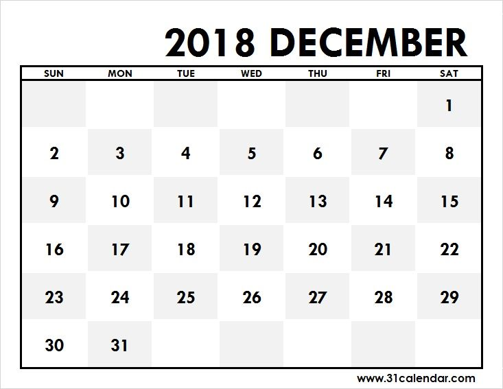 December 2018 Calendar Large Editable 31 calendar Pinterest