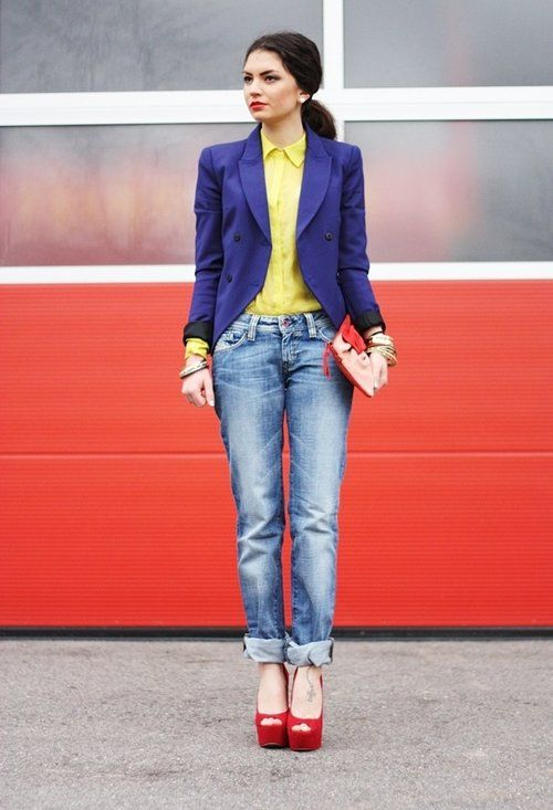 Zara in Blazer - Hallhuber in Shirt / Blouse - Diesel in Jeans - Pieces in Clutch - Carvela in Heels / Wedges