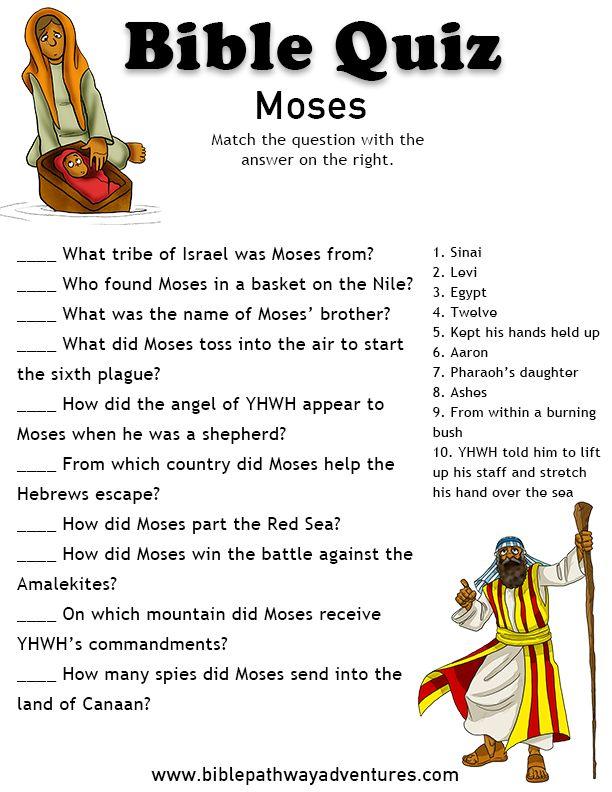 Printable bible quiz - Moses                                                                                                                                                                                 More                                                                                                                                                                                 More