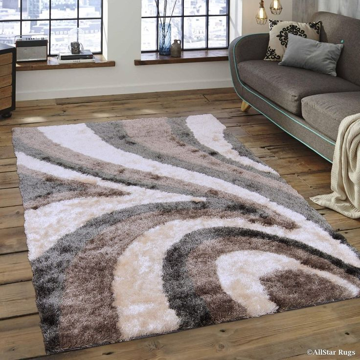 "Allstar White/ Grey Modern Thick High Pile Rug (7' 11"" X 10' 5""), Size 8' x 11' (Polyester, Stripe)"