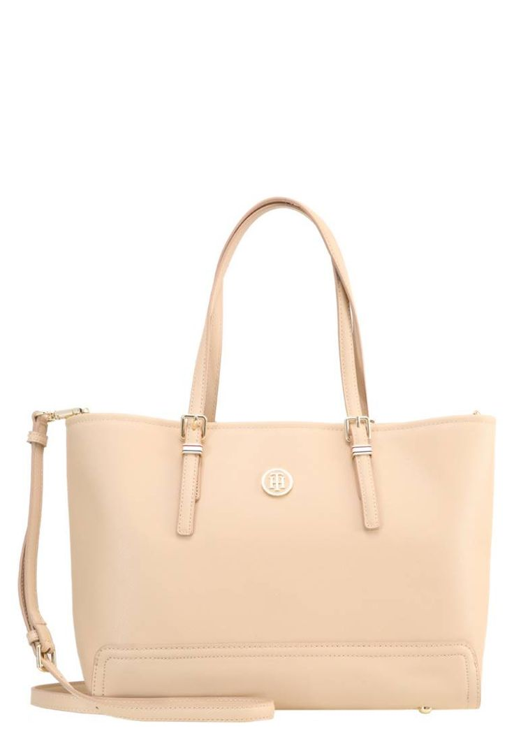 """Tommy Hilfiger. HONEY - Handbag - beige. Pattern:plain. Compartments:laptop compartment,mobile phone pocket. length:13.5 """" (Size One Size). width:5.5 """" (Size One Size). Lining:textile. carrying handle:8.5 """" (Size One Size). Fabric:Synthet..."""