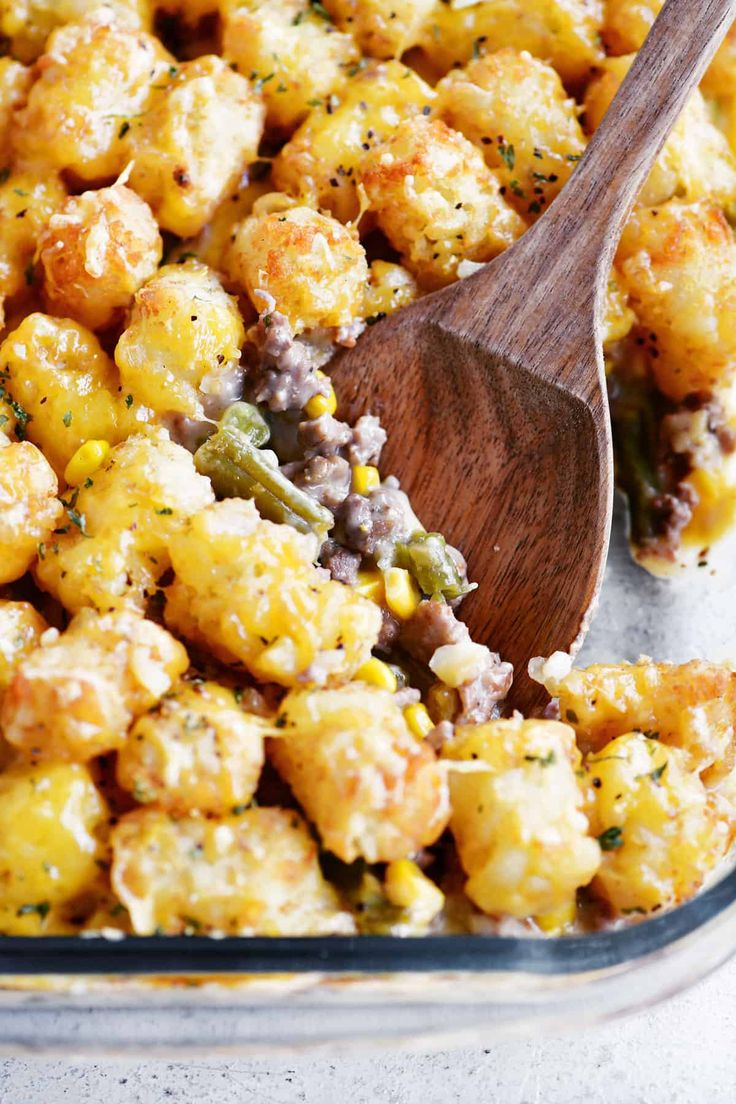 Tater Tot Casserole Has A Creamy Layer Of Ground Beef Italian Sausage Green Beans And Corn