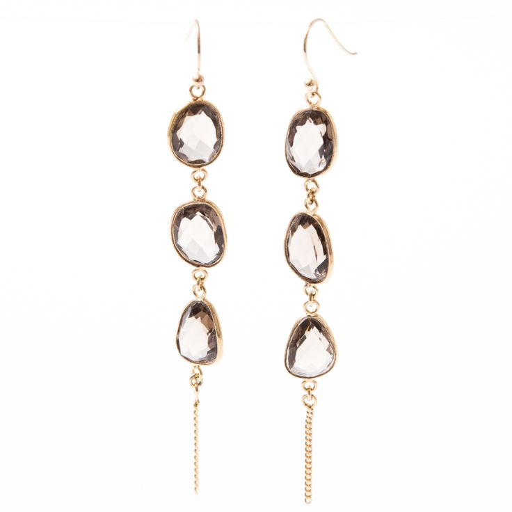 Vic vermeil earring with triple brown onyx