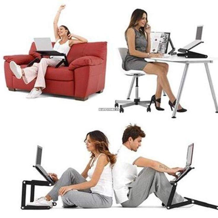 Laptop Desk Table, Portable Folding Computer Desk Laptop Table Workstation Furniture Black