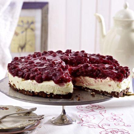 Kirsch-Frischkäse-Torte mit Schoko-Nougat-Boden Rezept