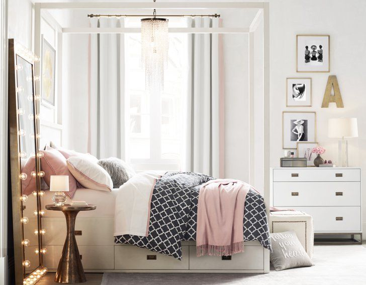 Pin for Later: You Don't Have to Be a Teen to Shop Restoration Hardware's Exciting New Line Avalon Storage Canopy Bed The Avalon bed (twin bed, $1,899) merges storage with beautiful design.