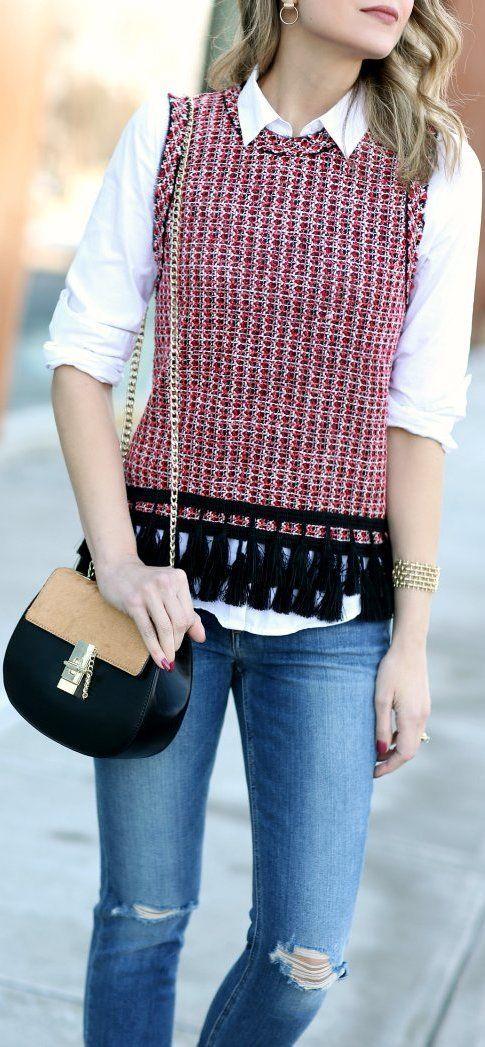 ZARA tweed top + jeans outfit
