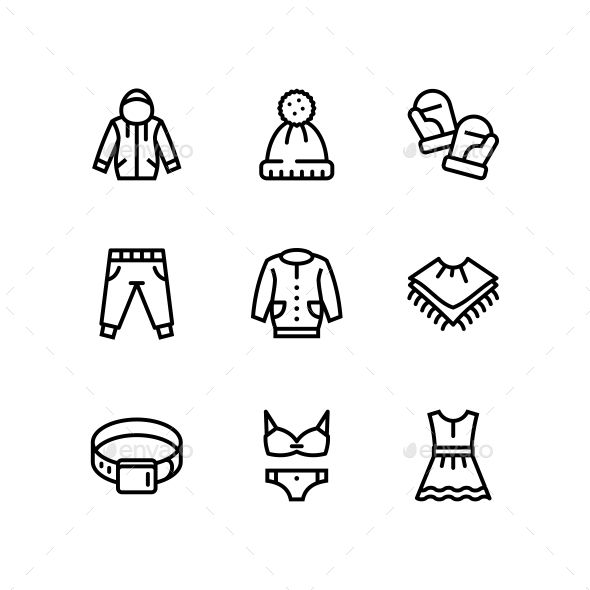 Clothes, Fashion, Accessories and Wear Vector Line Icons for Web and Mobile Desi…