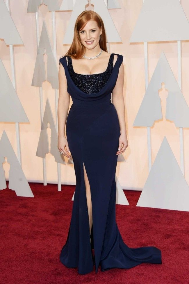 87th Academy Awards: Oscars 2015 red carpet : Jessica Chastain in Givenchy and Piaget jewellery.