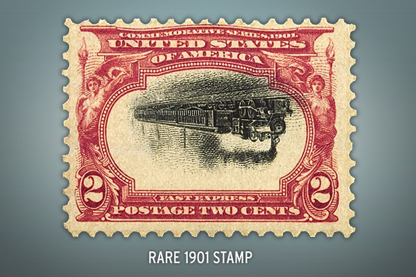 Rare 1901 Stamp This two-cent stamp is one of an estimated remaining 155 stamps of its kind. It sold at auction for $41,825 in 2009.