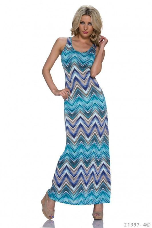 Blauwe maxi dress met zomerse Azteken print