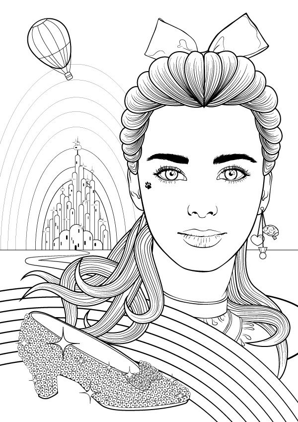 Create a Colouring Book Style Illustration of Dorothy Gale in Adobe Illustrator