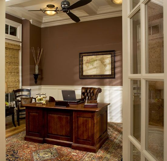 Delightful High Ceilings And White Wainscoting Balance A Dark Wall Color, Creating A  Sophisticated Atmosphere Without