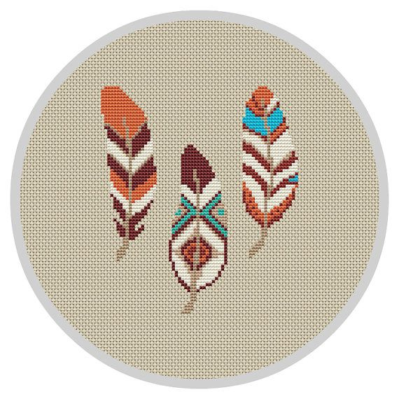 Feather Cross Stitch Pattern Wall Decor Feather Decor by Xrestyk