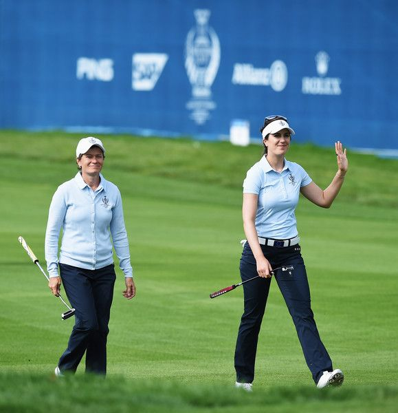 Sandra Gal Photos Photos - Catriona Matthew and Sandra Gal of team Europe celebrate  during the morning foursomes The Solheim Cup at St Leon-Rot Golf Club on September 18, 2015 in St Leon-Rot, Germany. - The Solheim Cup - Day One