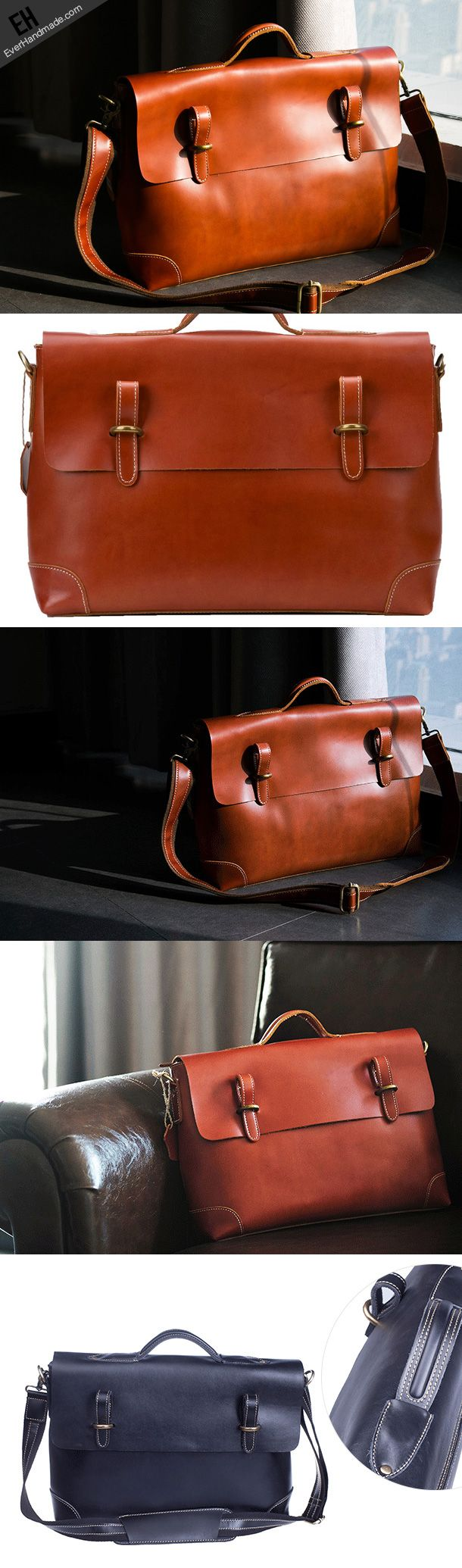 Copy of Handmade leather men Briefcase messenger vintage