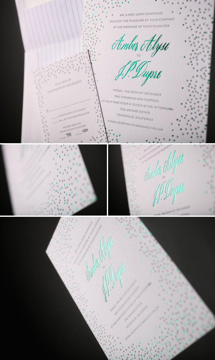 Emerald Foil Joie de Vivre wedding invitations