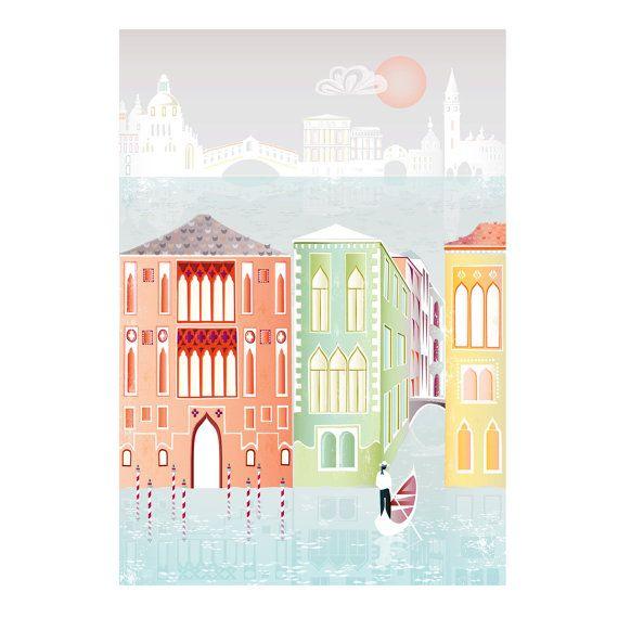 Venetië  Kleurrijk A4 Papier stadsbeeld Kunstdruk door lauraamiss