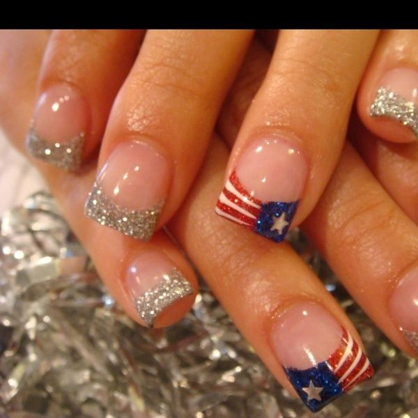 Fourth of July Acrylics. Birthday nails for this independence baby!!