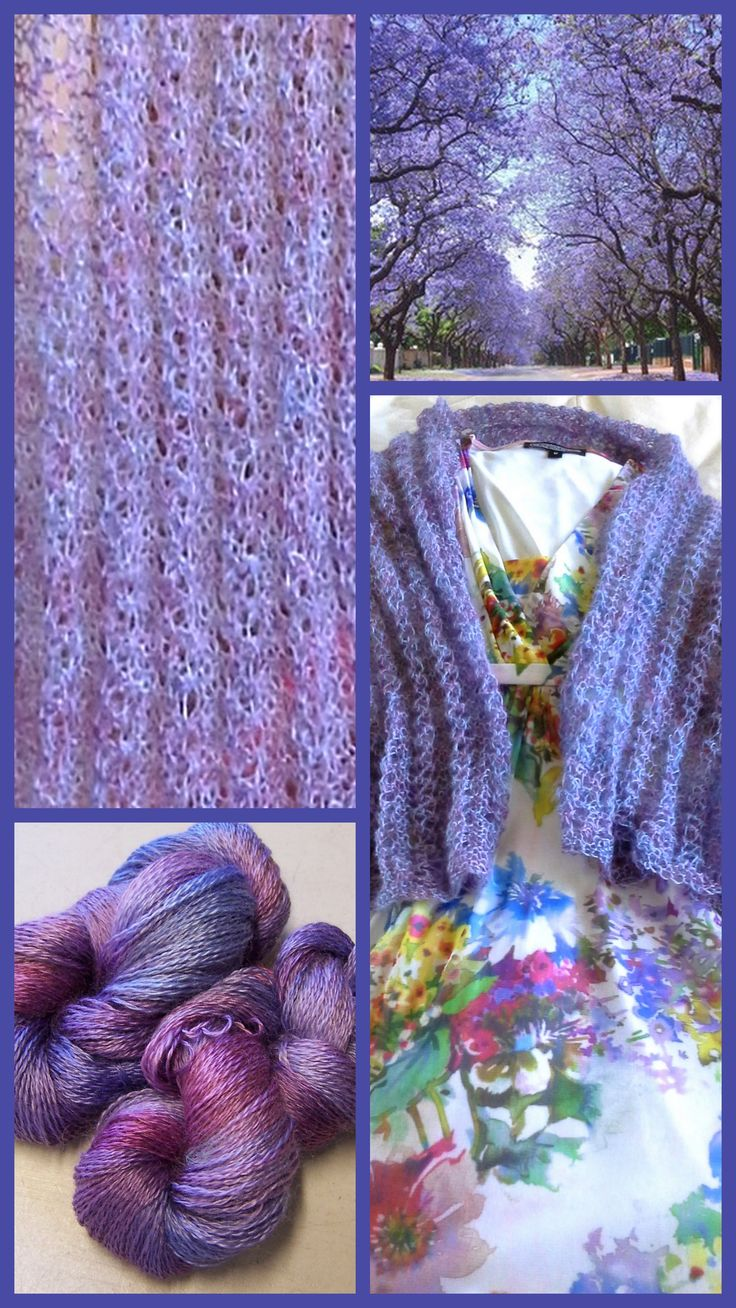 "Who doesn't love the glorious hues of a Jacaranda tree in bloom. I fell in love with these trees in Pretoria Sth Africa and the image embedded here is from that location. Collage features LD Angoraglow yarn. Colourway: ""Jacaranda""."