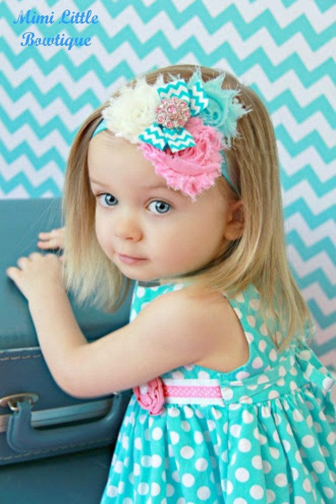 Chevron Pink-Aqua-Ivory shabby Chic Chiffon Headband-  Headband-Baby headband- Newborn headband- Infant headband-Chevron Print. $8.95, via Etsy.