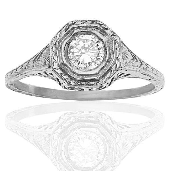 Platinum Power! Art Deco Etching Completes this Beauteous Solitaire Engagement Ring!