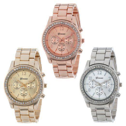 Luxury Geneva Brand Stainless Steel Watch Women Ladies Men Fashion Crystal Dress Quartz WristWatch G06