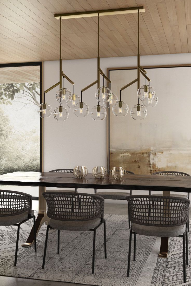 Dining room lighting ideas - The Sedona Triple Chandelier From Tech Lighting Perhaps Is Best Described As A Deconstructed Modern Chandelier Where Glass Orbs Are Each Suspended From The